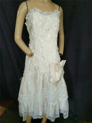 80s Dresses   Casual to Party Dresses 1980'S VINTAGE LIGHT PINK & WHITE LACE STRAPLESS RUFFLE  PROM DRESS  32