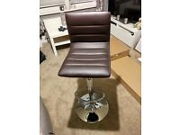 2 X Brown Leather Bar Stools Adjustable Height Hydraulic