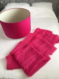 Extra extra large light shade in cerise + voiles