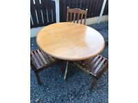Lovely Solid Wood Round Table And 3 Ornate Chairs. Excellent Condition. Can Deliver.