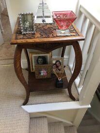 carved oak lamp/side table