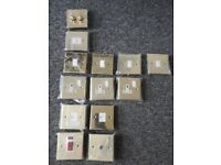 NEW gold household electric light switches/plugs etc