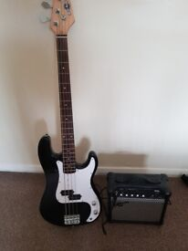 La Black bass guitar with 15w amp