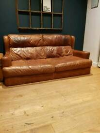 Vintage low tanned 3 seater cigar sofa