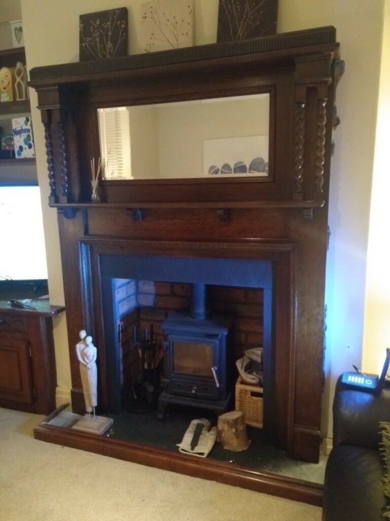 Solid Wood Fireplace Fire Surround With Mirror