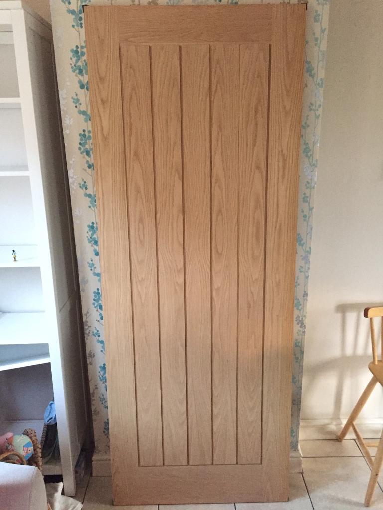Sold Wickes Geneva Internal Cottage Oak Veneer Door 5 Panel 1981 X 762mm