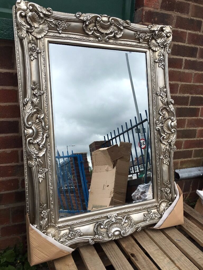 Large French Ornate Rococo Mirror New Silver