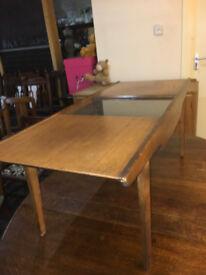 Stylish Vintage Retro G Plan Style Teak Sliding Glass Top Coffee Table 1960s