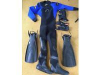 Typhoon xl drysuit inc hood, fins and gloves.
