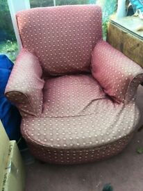 Red arm chair - perfect for upholstery project
