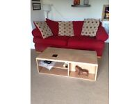 Very large three seater red sofa and arm chair FREE