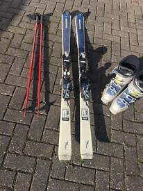 Dynastar 162cm skis with Salomon 29.5 boots and poles