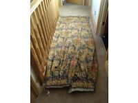 Large lined curtains, gold, red, blue rich colours, heavy material