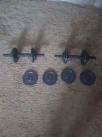 dumbell weights for sale good condition only used once need gone asap collection only £25