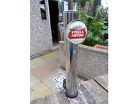 beer pump/font in chrome (stella lager) with frame& s/steel drip tray