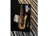 Saxophone and case