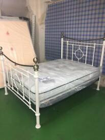 Dakota Double Bed frame in Cream/Antique Brass
