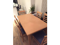 John Lewis extendable table with 6 upholstered chairs