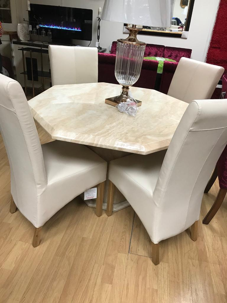 Marble octagonal dining table with chairs | in Nottingham, Nottinghamshire | Gumtree