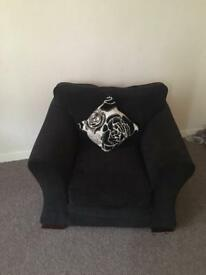 Black fabric armchair