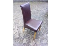 5 X brown genuine leather, oak dining chairs.