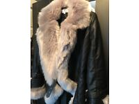 Black and grey fur jacket