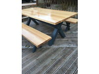 Solid Oak Dining Table and benches (Bargin)