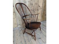 Ercol Chairmaker's chair fireside armchair grandfather cowhorn elm dark vintage gplanera