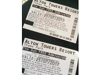 Alton towers tickets x2