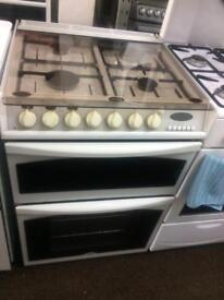 White Hotpoint 60cm dual fuel cooker grill & fan oven good condition with guarantee