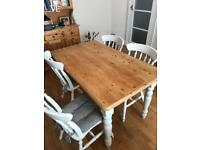 Dining table plus 4 chairs with cushions