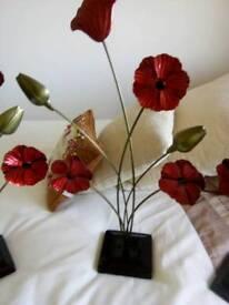 Enamelled poppy ornaments