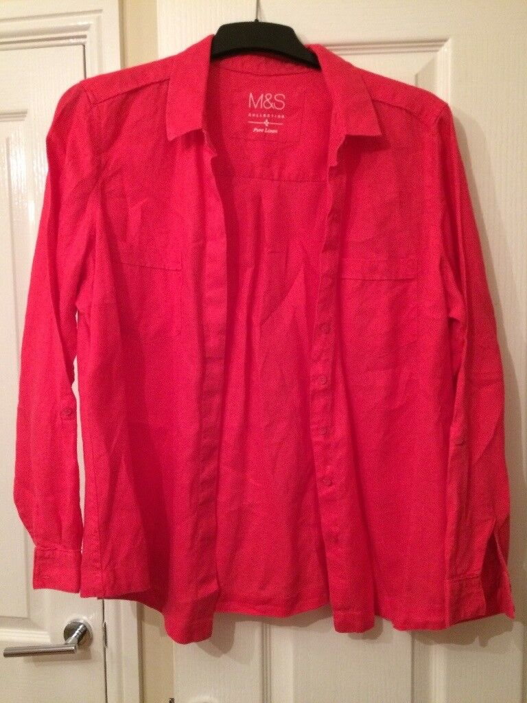 Marks and Spencer cerise pink pure linen shirt