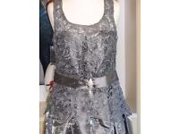 Gorgeous Silver Cocktail dress, New, has tags. Lace overlay at bodice.