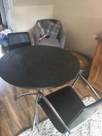 Black Granite Top Table and 4 Black Leather Chairs