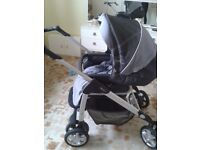 SILVER CROSS PRAM PUSHCHAIR CARSEAT 3 IN 1 TRAVEL SYSTEM WITH RAINCOVER GOOD CONDITION