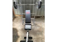 Pro power weights bench and dumbbell set.