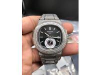 Patek philippe diamond iced out silver not Audemars piguet Rolex Cartier watch