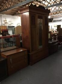 SOLID WOOD ANTIQUE GRAND WARDROBE - CAN DELIVER