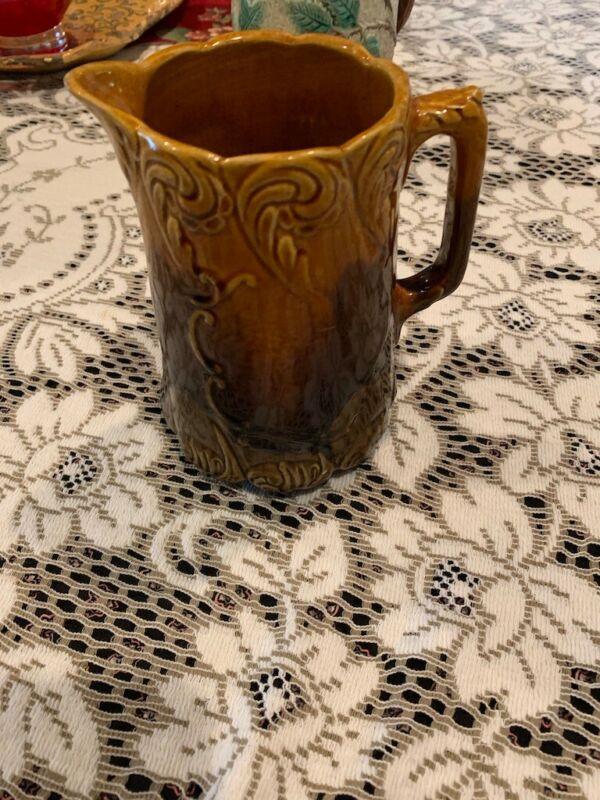 Vintage Brown Drip Glaze Pitcher, beautiful shape