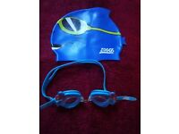 Zoggs Blue Silicone Shark Swim Hat and Seal Goggles IP1