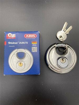 New Abus Diskus 24rk70 Rekeyable Stainless Steel Pad Lock