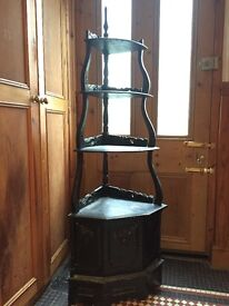 Antique black shelving corner unit cupboard £50ONO