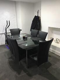 Harvey's Glass Boat Dining Table and 6 Chairs