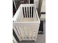 Bloom Alma Mini Crib & mattress (Little Green Sheep) Excellent Condition RRP £400