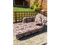 Chaise Lounge Burgendy & Cream