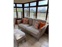 NEARLY NEW : M&S conservatory suite comprising of 1 large sofa 1 medium sofa and a footstool