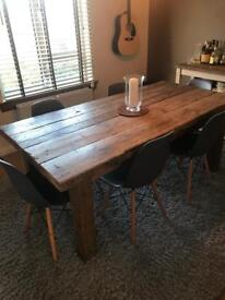 Gorgeous farmhouse table and six grey eames chairs