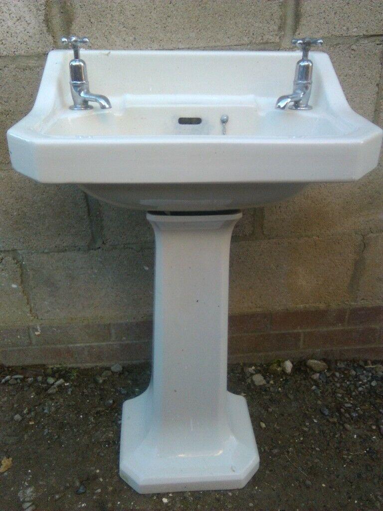 1950s basin,pedestal&taps