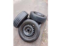 VW Transporter T5 Steel Wheels 16 inch, x 4, inc Hankook tyres & VW wheel trims & bolts